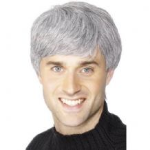 Mens Grey Wig Perfect For Football Fancy Dress